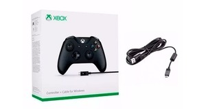 CONTROLE XBOX ONE S WIRELESS COM CABO PRETO