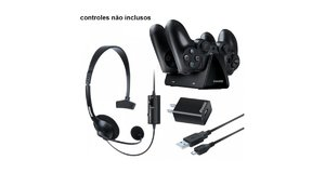 KIT GAMER  PS4 HEADSET CARREGADOR DUAL DOCK CASE  DREAMGEAR